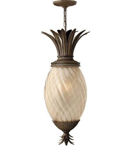 Outdoor Pendant 1 Light With Pearl Bronze Inside Etched Amber Optic Aluminum Medium Base 13 inch 100 -