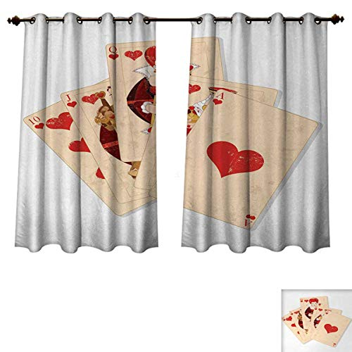 Anzhouqux Alice in Wonderland Blackout Thermal Curtain Panel Crown Gambler Queen Hearts Royal Fairy Flush Face Magic Theme Patterned Drape for Glass Door Brown Red and Ecru W72 x L63 inch