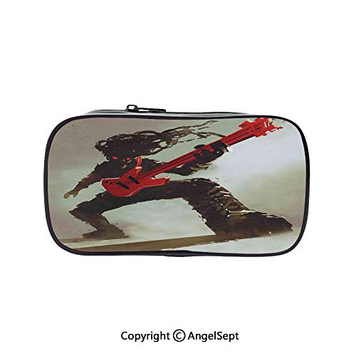 Cute Pencil Case - High Capacity,Rocker Guitarist Playing Bass Headbanging Hipster Rock Display Red Eyes Art Print Red Grey 5.1inches,Multifunction Cosmetic Makeup Bag,Perfect Holder for Pencils and]()