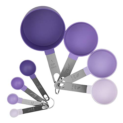 COOK with COLOR 8 Pc Nylon Measuring Cups and Measuring Spoon Set with Stainless Steel Metal Handles for Liquids and Solids - Lavender