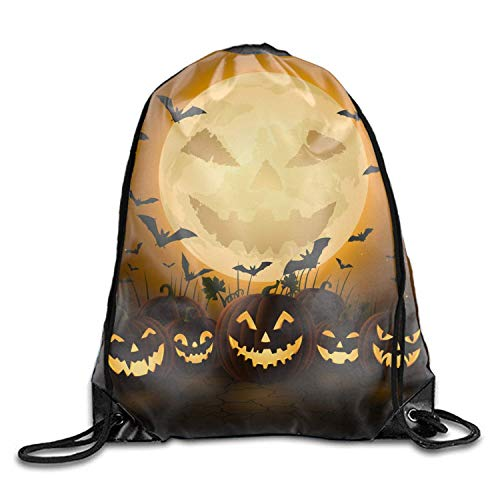 Mastexoru drawstring backpack Cool Drawstring Backpack Spooky Halloween Night Print Drawstring Backpack Rucksack Shoulder Bags Gym Bag ()