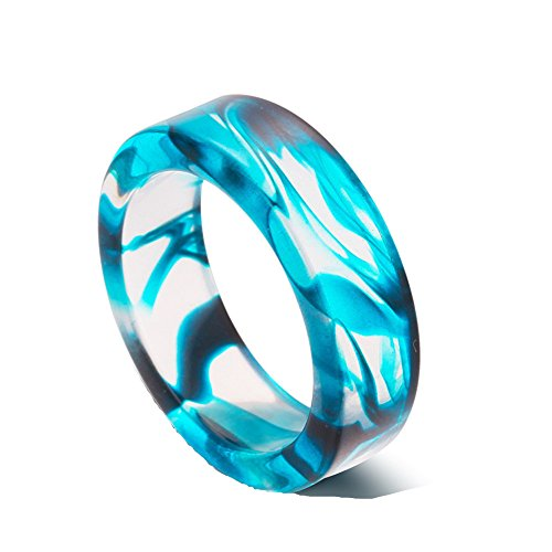 Romance Ring (AUMRET Pattern Blood Drops Female Ring Romance Vampire Blood Resin Ring (Blue, 7))