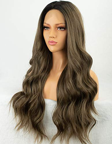 Persephone New Ombre Lace Front Wig Brown 2 Tones Long Wavy Wigs for Women Glueless Brown Synthetic Wig with Dark Roots 22 Inches Heat Safe