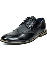 Bruno MARC FLORENCE Men's Oxford Modern Classic Brogue Lace Up Leather Lined Perforated Wing-tip Dress Oxfords...