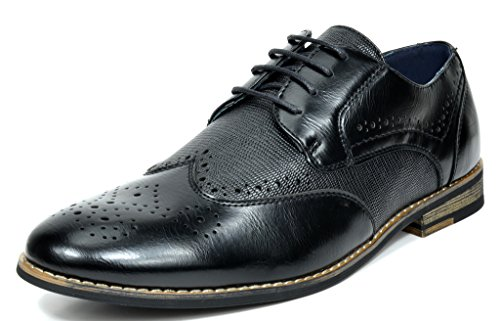Bruno Marc Men's Florence-1 Black Leather Lined Dress Oxfords Shoes - 11 M US Black Tip Leather Shoe