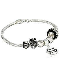 "Sterling Silver Live Laugh Love Bead Charm Bracelet, 7.5"""