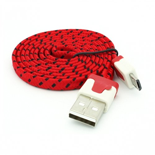 RED 3ft Flat Braided Micro USB Data Cable Power Wire for AT&