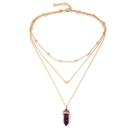 (Wisslotus Layered Chain Choker Necklace Heart Rhinestone Crystal Quartz Pendant Women Boho Multilayer Jewelry (Purple))