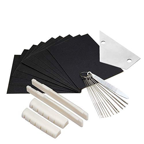 - Guitar Tools Kit Repair Maintenance Accessories; 4pcs 6 String Acoustic Guitar Bone Bridge Saddle and Nut; 9 Pcs Sand Paper; Needle Files of 13 Sizes and Fret Rocker Leveling Luthier Tool For Acoustic