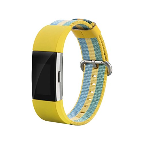 Calendar Yellow Bracelet - Replacement Watch Band For Fitbit Charge 2,ChainSee Braided Nylon Bracelet Strap Clasp Wrist Band (Yellow)