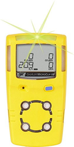 BW Technologies MCXL-XWHM-Y-NA GasAlertMicroClip XL 4 Gas Detector, CO, H2S, LEL and O2, Yellow