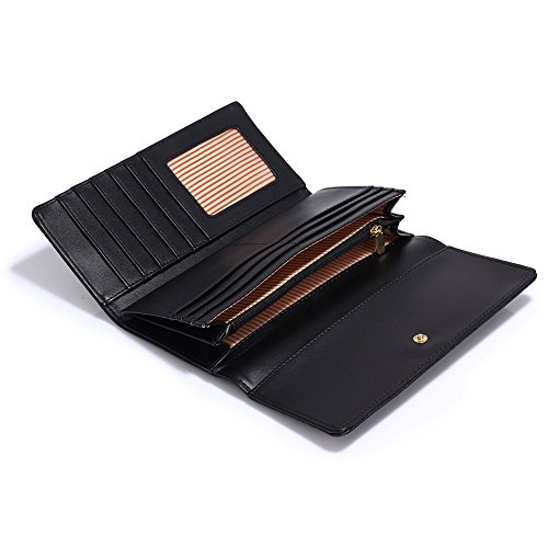 Wallet Purses Metal Decoration and Black Design Womens Luxury Large With Card 2 Ladies Look Slots designer AIwxBq5