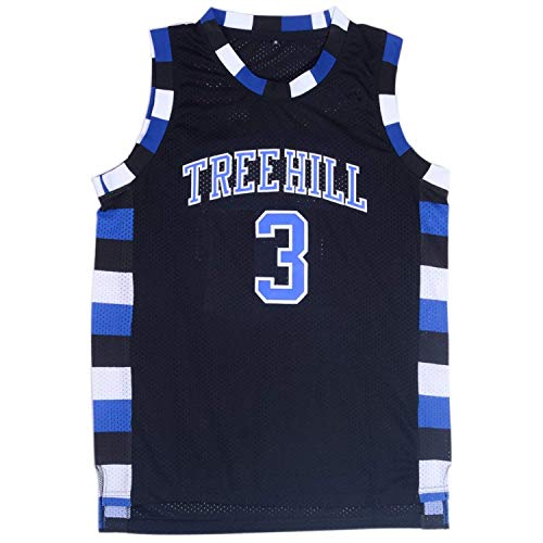 Mens Lucas Scott 3 Ravens Basketball Jersey Stitched Sports Movie Jersey Black (M) (Nathan Scott One Tree Hill)