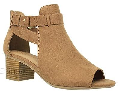 MVE Shoes Women's Open Toe Chunky Heel Back Zipper Sandal