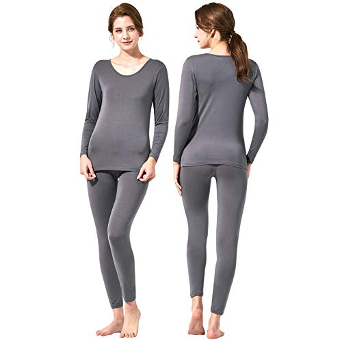 - Feelvery Women's Natural Ultra-Soft Premium Tencel Silk Long Johns Thermal Underwear Set (Dark Gray, Large)
