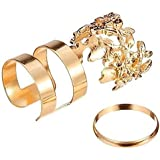 ring set fashion 3-pack alloy leaves cuff finger ring sets jewelry for women bague