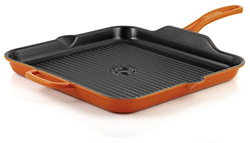 "Mabel Home Enameled Cast iron Square Grill Pan, 12"" + with 2 Gloves (Orange)"