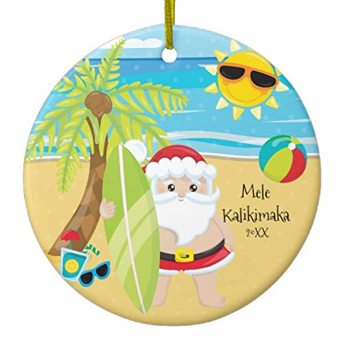 Lplpol Palm Tree Surfing Santa Hawaiian Christmas Ceramic Xmas Trees Home Decorated Ceramic Ornaments Porcelain Ornament Personalize Souvenir ()