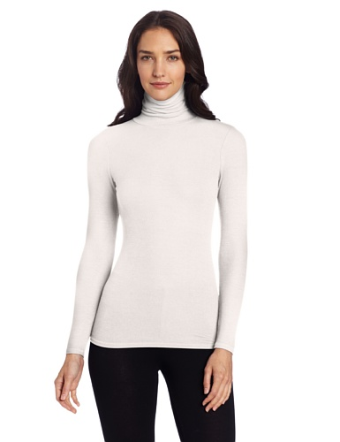 Three Dots Women's Long Sleeve Rib Turtleneck, Gardenia, Medium (Rayon Rib Turtleneck)