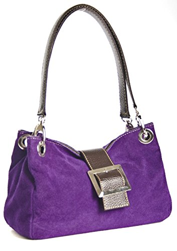 Donne Borsa in pelle camoscio piccola italiana con finiture finta - comprende una borsa di marca deposito protettivo e un fascino 28 x 18 x 11 cm (LxAxP) Viola (Medium lila - braun Trim)