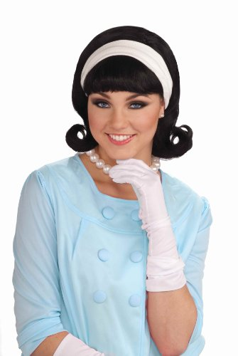 1950 Wigs (Forum Novelties Womens 50's Flip Wig with Headband, Black, One Size)