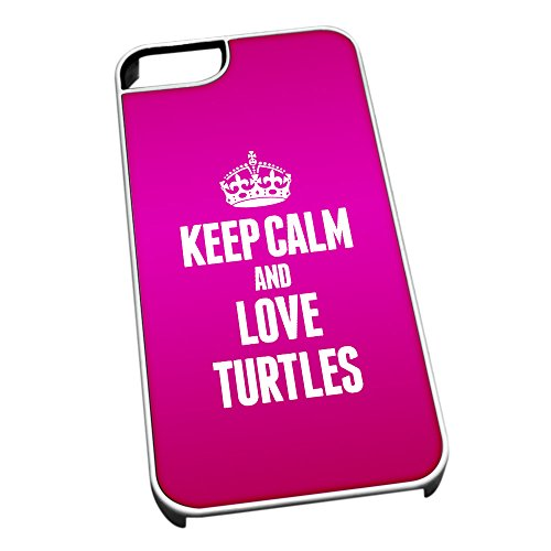 Bianco cover per iPhone 5/5S 2496 Pink Keep Calm and Love Turtles