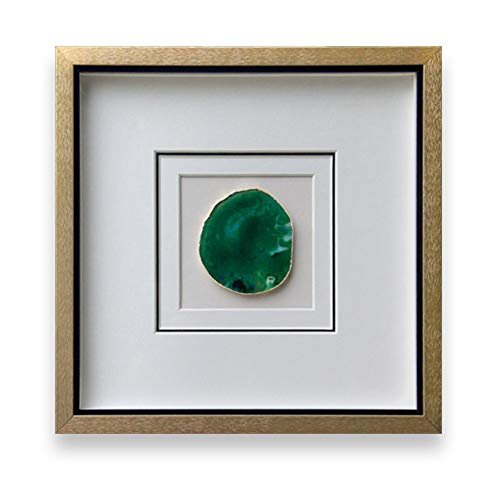 (Handmade 40x40cm Gold Edge Agate 3D Wall Art with Shadow Box Frame Front Glass for Living Room Bedroom Decoration (Green))
