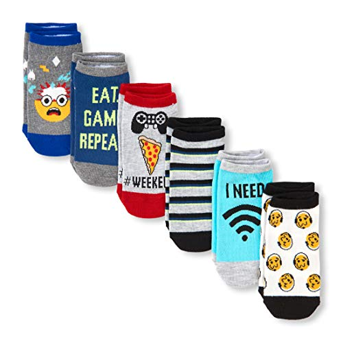 The Children's Place Boys' Big 6 Pack Novelty Graphic Ankle Socks, multi CLR S 11-13]()