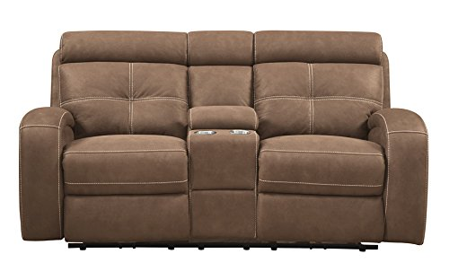 Emerald Home U5096-21-25 Jenner Power Motion Console Loveseat, Mocha Brown