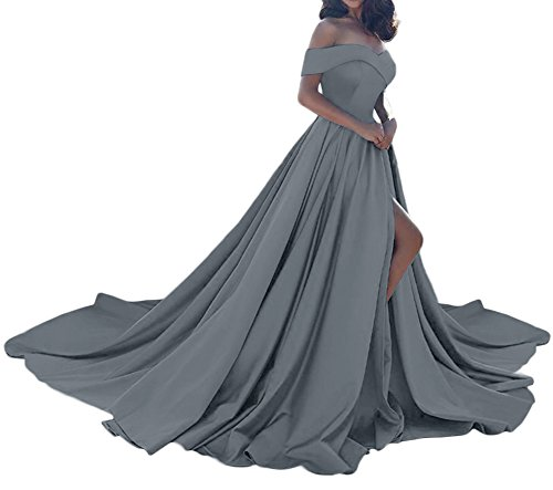 Amore Bridal Vintage Princess Off Shoulder Wedding Dress Satin Slit Evening Prom Gown Silver, ()