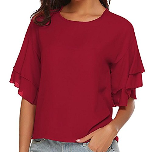 Tops Pullover T-Shirt Blouse MITIY Women Solid Ruffles Half Sleeve Butterfly Sleeve ()