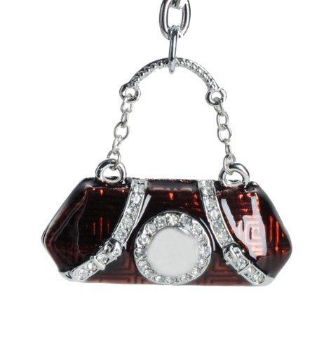 Lilly Rocket Dark Red Enamel Handbag Key Chain with Rhinestone Swarovski Crystals