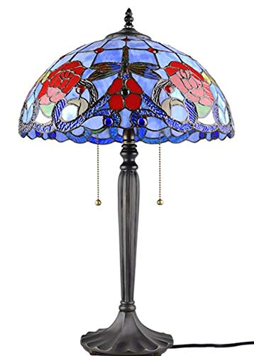 Pattern Tiffany Shade - Tiffany Style 2 Light Table Lamp, Multi-Color Tiffany Glass with Gragonfly Pattern Shade, 16-Inch (TINF-37)
