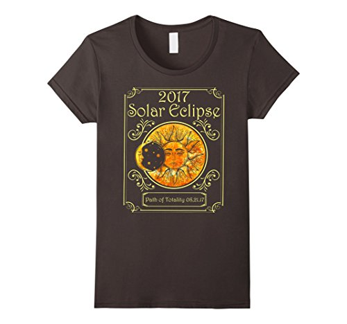 Womens 2017 Solar Eclipse Path Of Totality Art Moon And Sun T Shirt Large Asphalt