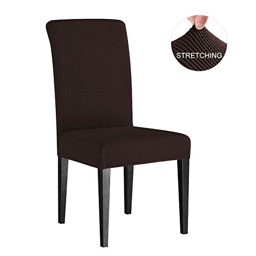 Subrtex Dining Room Chair Slipcovers Sets Stretch Furniture Protector Covers for Armchair Removable Washable Elastic Parsons Seat Case for Restaurant Hotel Ceremony, 4 Pieces, Chocolate Checks