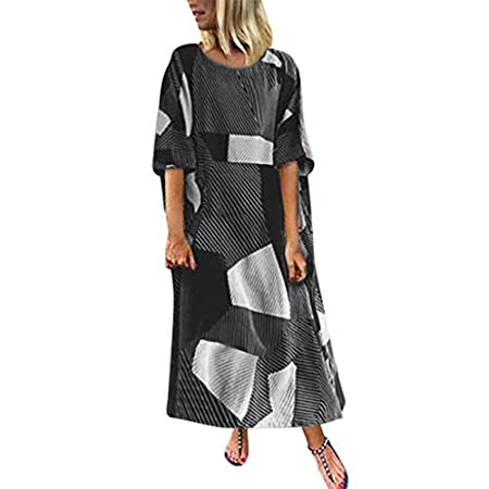 fasloyu Women's Batwing Geometry Print Long Shirt Dress Casual Stripe Summer T-Shirt Dress Plus Black 41R2trB3uFL