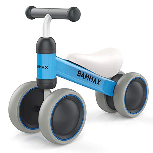 Bammax Baby Balance Bikes, Baby Bicycle Children Walker Toddler Bike for 1-2 Year Old Boys Girls 9months - 24months No Pedal 4 Wheels Infant Bikes Kids First Birthday Bikes, Blue