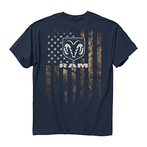 Buck Wear Men's Ram - Full Camo Flag Cotton T-Shirt, Blue Dusk, Large