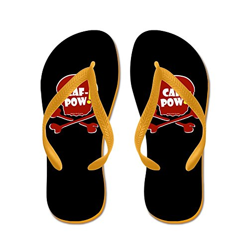 CafePress Caf-Pow! Skull - Flip Flops, Funny Thong Sandals, Beach Sandals Orange
