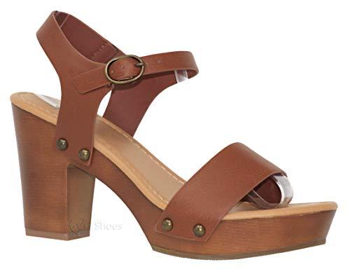 MVE Shoes Women's Ankle Strap Faux Wood Platform Chunky Heel Sandal, Chivas TAN NBPU 6.5