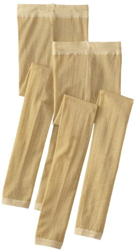 Country Kids Little Girls' Sparkly Footless Tights 2 Pair,Gold,3-5 Years