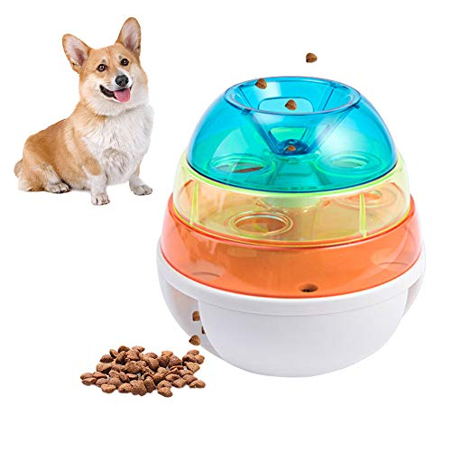 Urijk Dog Toy Treat Interactive Ball, Three-Layer Leaking Tower Food Dispenser Ball Tumbler Design Training Puzzle Shaking Toys,Pets Increase IQ Slow Feeder for Small Medium Dogs and Cats