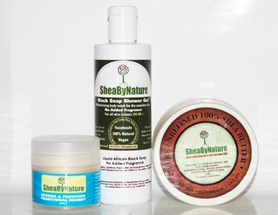3 Natural Skincare Products for Super Sensitive Skin - Eczema and Psoriasis Traditional Remedy (60ml), Fragrance-Free African Black Soap Body Wash (250ml) & 100% Pure, Unrefined Shea Butter (120g) from Sheabynature