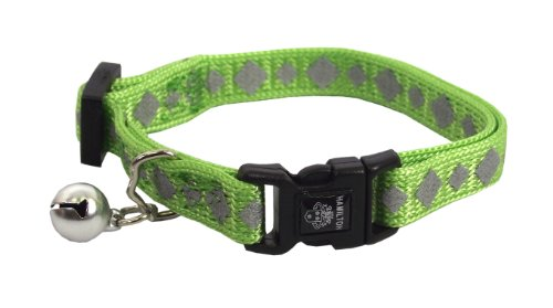Hamilton Adjustable Reflective Break-A-Way Cat Safety Collar, 3/8-Inch by 8-Inch to 12-Inch, Lime
