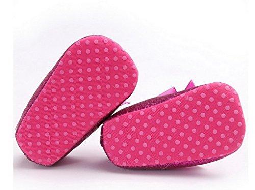 Recién nacido bebé antideslizante suave parte inferior Prewalker zapatos Glitter parte primera–Zapatos de Senderismo plateado plata Talla:12-18 meses Purple-red