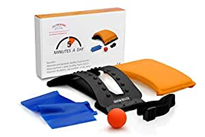 Back Stretcher - Posture Corrector - Perfect for Spine Alignment and Flexibility - Bonus Elastic Band and Muscle Relief Ball - Doctor Recommended Posture Wizard System