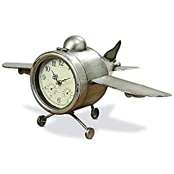 Whole House Worlds The Airplane Clock, Over-sized, Floor or Desk Top, Glass Face, Lacquered Polished Iron, Analog Time Piece, Battery Powered, By