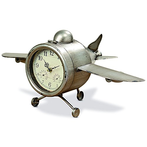 Analog Aviator - WHW Whole House Worlds Airplane Clock, Over-Sized, Floor or Desk Top, Glass Face, Lacquered Polished Iron, Analog Time Piece, Battery Powered