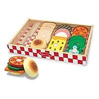 Melissa & Doug Juego para hacer emparedados, Juego de alimentos de madera, Bandeja de almacenamiento de madera, Materiales, 16 piezas, 1.75 ″ H × 9 ″ An × 13 ″ L