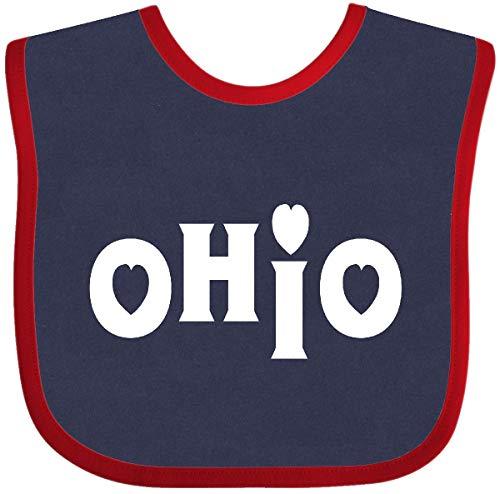 Inktastic - Ohio Hearts White Text Baby Bib Navy and Red 339c8 ()